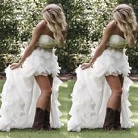 Robes de mariée de style de style de campagne modeste High Low Sweetheart volants organza asymétrique asymétrique Hi-lo blanche blanche robe de mariée
