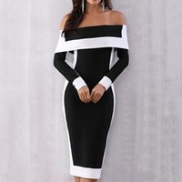 Ladies Sexy Off Shoulder Long Sleeve Dress Fashion Women Pat...