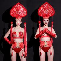 Disfraces barra de Ds escenarios de Nueva Festival de traje estilo chino Discoteca Cantante atractivo Pold ropa de la danza del bikini del delirio desgaste DN4759
