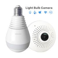960 P 360 Graus Câmera IP Sem Fio WiFi Lâmpada Luz FishEye Panorâmica Home Security Camera 2 Way Suporte De Áudio 128 GB