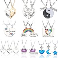 Hot Pins Selling Best Friend Necklace Ladies Crystal Heart Tai Chi Crown Forever Friendship Necklace Pendant Friendship BFF Jewelry Gift