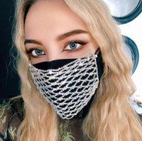 Bling Rhinestone Mask Malha Rhinestone face Jewlery para Máscaras Mulheres oco Elastic Rosto Corpo Jóias Night Club partido GGA3437-3