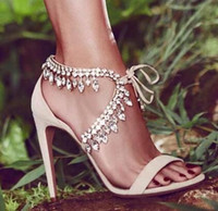 Eunice تشو نمط حجر الراين المصارع الصنادل المرأة الجلد المدبوغ strappy عالية الكعب أحذية امرأة الدانتيل يصل الأزياء مضخات zapatos موهير