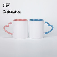 DIY Sublimation 11oz Ceramic Mug with Heart Handle 320ml Whi...