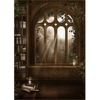 Vintage Wooden Bookrack Arch Window Photography Backdrop for Halloween Vinyl Photocall Background for Children Baby Photoshoot