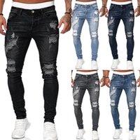 Tasarımcı Erkek Kot Delikler Distrressed İnce Erkek Jeans Casual Stretch Orta Bel Vintage Uzun Homme Jeans