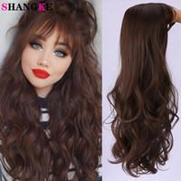 Shangke Long Wavy Synthetic Perücken für Frauen Hitzebeständige Faser Schwarz Braune Schokoladenfarbe mit Pony Cosplay Gefälschte Haare
