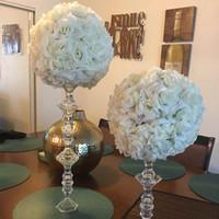 وزهرة جديدة الكرة 6-24 بوصة (15-60 سم) العرس الكروي حديقة الديكور الحرير البلاستيك وارتفعت الاصطناعي زهرة التقبيل الكرة