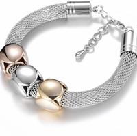 de acero de titanio joyería de las pulseras ajustables define la forma pulseras bañado en plata al por mayor para las mujeres de la manera caliente