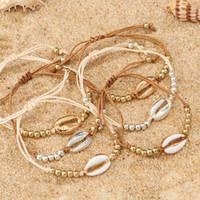 1PC Moda Shell Boncuk Bilezikler Boho Vintage Cowrie Altın Renk Seashell El yapımı Kadınlar için Ayarlanabilir Bilezik Plaj Takı