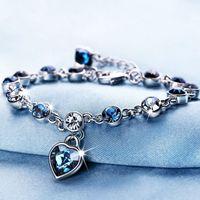 Lujo de cristal austriaco pulseras completo Azul corazón del diamante de la joyería del regalo del amor Mar de moda Lover plateado plata del encanto de muchacha de las mujeres