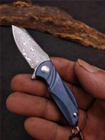 Damasco Mini Pequeño EDC Bolsillo Cuchillo plegable Cuchillo Cuchillo Cuchillo TC4 Manija de aleación de titanio con paquete de caja de regalo