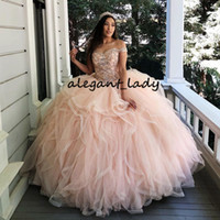 Розовое роскошное бальное платье Quinceanera Платья выпускного вечера 2019 года Бисерные платья vestidos robe de bal Sweet 16 Платье Платья для вечеринок для девочек Плюс размер