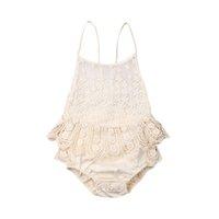 Kleinkind-Baby-Sommer-Spitze-Bodysuit-Spielanzug-Overall Sunsuit-Kleidung 0-12M