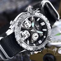 Montres Quartz Affichage heure dorée double hommes Mode toile bracelet Homme Sport Chronographe Montre-bracelet