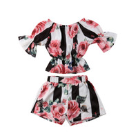 Baby girls outfits cotton children Stripe Floral top+ shorts ...