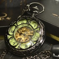pink Luminous Mechanical Pocket Steampunk Vintage Hollow Cov...