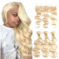 Blond body wave virgin hair human hair bundles with 13*4 fro...