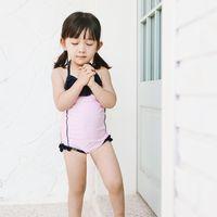 الصيف الطفل بنات الانحناء المايوه الاطفال falbala مهرجان الاستحمام الدعاوى الأطفال عارية الذراعين سبا شاطئ ملابس السباحة + قبعة السباحة 2 قطع مجموعات Y1514