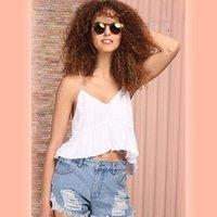 2018 muchachas de las mujeres La nueva manera ocasional sólido sin mangas con cuello en V Camis blanco del verano del tirante de espagueti floja Camis Tops caliente