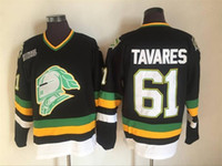 CHL London Knights Trikots Vintage 61 John Tavares Trikot Black Men Genähte CCM Hockey Trikots