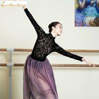 Bühnenabnutzungsballett Trikots für Frauen Sexy Black Lace High Collar Gymnastik Dancewear Yoga Body Erwachsene Professionelle Kostüme