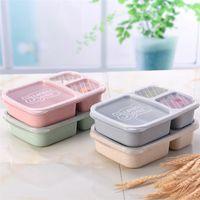 3 сетки пшеницы солома ланч коробка микроволновая печь Bento коробка еда сорт здоровье ланч коробка студент портативный фруктовый еду контейнер для хранения DBC VT0629
