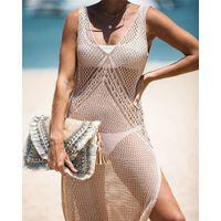 Womens Casual Bikini Beach Blouse Split Fashion Cutout Knitting Camisole Ladys Summer Holiday Sun Shirt Women Sexy Blouse