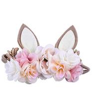 Kinder simulation Blume Haarbänder Mädchen cartoon Kaninchen Ohren Stirnbänder Kinder Einhorn Geburtstag Party Prinzessin Haar Zubehör A2053