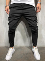 Mens Stripe Trousers Skinny Leg Pants Sport Jogging Elastic ...