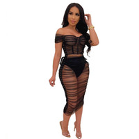 Slash Neck manica corta Sexy Midi Mesh Dress Donna Night Club Wear Ruffed Dress Summer Black Prospettiva Robe + Inner Pant Due pezzi