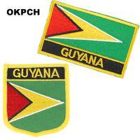 Guiana Bordado Ferro na bandeira remendo remendos Bandeira Nacional para a roupa DIY Decoração PT0071-2