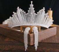 Bling Bling Set Taçlar Küpe Gelin Takı Aksesuarları Düğün Tiaras Rhinestone Kristal Başlıklar Saç Düğün Taçlar
