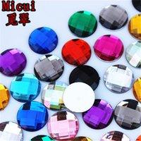 Micui 200pcs 14mm 라운드 크리스탈 플랫 백 혼합 컬러 아크릴 모조 다이아몬드 접착제 흉터 크리스탈 돌 보석 공예 ZZ136에 대 한 구멍 없음