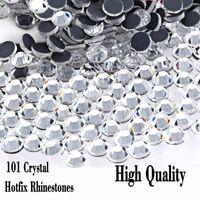 Temizle Kristal DMC Sıcak Fix Rhinestone Flatback Cam Farklı Boyutları Düzeltme Rhinestones Parti Gece Elbise Için Demir On