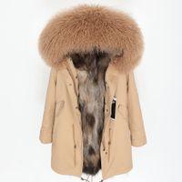 Maomaokong 2019 nueva moda para mujer piel de mapache real forrada con lana de invierno cuello de piel de lujo chaqueta