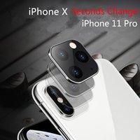 حماية الزجاج المقسى ثواني تغيير لمدة 11 فون برو ماكس غطاء عدسة الكاميرا لفون X XS سبيكة MAX الغلاف الخلفي كاميرا