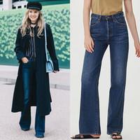 Kadınlar Jeans Uzun Düz Mavi Denim Pantolon Vintage Stil Düğme Jeans Yüksek Kaliteli Jeans Yıkanmış