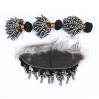 Aunty Funmi 곱슬 머리 뭉치 귀에 귀와 레이스 정면 두 톤 # 1B 회색 로맨스 곱슬 머리 묶음 레이스 정면 13x4