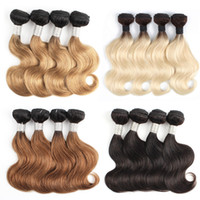 Kiss Hair Fashion 4 Bundles Body Wave T 1B 27 Honey Blonde Bundles Natural 50 g / pz 1B 613 Blonde Ombre Tessuto per capelli umani