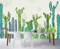 Salon Cactus Bitki Duvar kağıdı Büyük 3D Kaktüs Duvar Resimleri Fotoğraf Duvar kağıdı 3 D papel de Parede yapmak masaüstü Özel Boyut