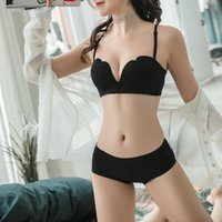 Summer New Women Underwear Set Sexy One-piece 1/2 Cup Convertible Bretelles Simple Mode Push Up Bra Briefs Ensemble