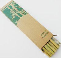Set di cannucce di bambù riutilizzabili Eco Friendly Handcrafted bambù naturale cannucce e spazzola di pulizia