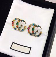 marca quentes têm selos cc diamantes coloridos designer brincos para as mulheres senhora Partido amantes casamento engajamento dom jóias de luxo LZ530