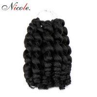 3pack ямайский отказов синтетические крючком волосы 8 дюймов ломбер нервный палочка завиток крючком твист плетение волос для чернокожих женщин Бесплатная доставка