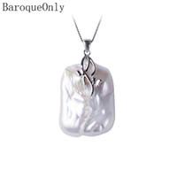 Baroqueonly collier pendentif perle d'eau douce naturelle, 18-23 mm, pendentif en argent Sterling pendentif bijoux pour femmes J190709