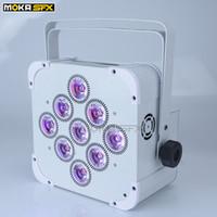 9 * 18W Vit LED UP Lights Wireless Battery Par Wash Lights DJ Light DMX för scen DJ Nattklubb Disco Party / MK-P03