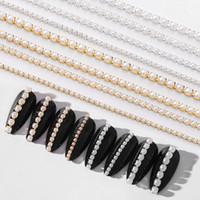 Metal del clavo de la decoración del arte 3D del metal del oro cadena de los granos Línea Multi-size hueso de la serpiente de bricolaje manicura decoración del clavo