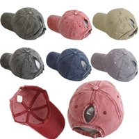 Washed Sport Ponytail Ball Cap Causal Solid Color Baseball C...
