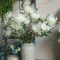 3Heads / branche Leucospermum Fleurs artificielles pour décoration de mariage Flores Artificiales Fake Plastic Fleurs Fleur Artificielle Home Decor